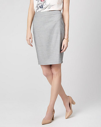 Birdseye Viscose Blend Pencil Skirt
