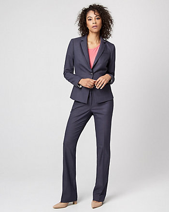 Viscose Blend Notch Collar Blazer