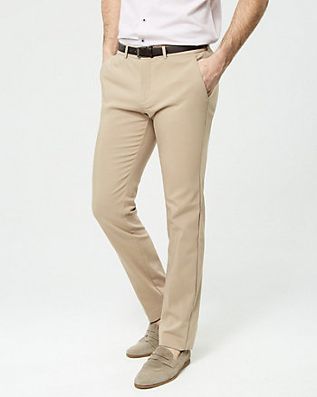 Cotton Blend Slim Leg Pant with Belt