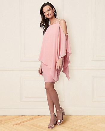 Chiffon Cold Shoulder Cape Dress