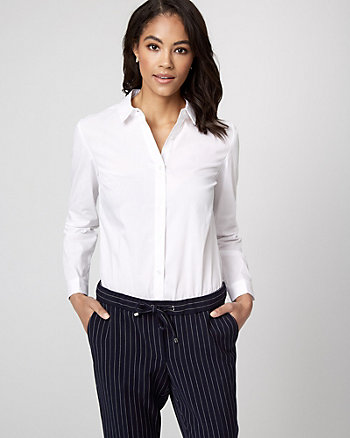 Stretch Poplin Button-Front Bodysuit