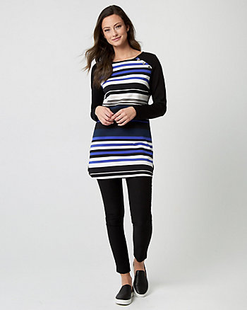 Stripe Ponte Crew Neck Tunic Top