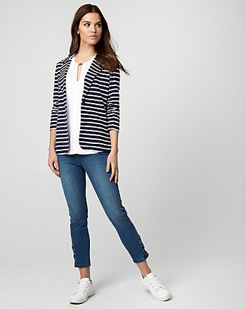 Stripe Ponte Knit Notch Collar Blazer