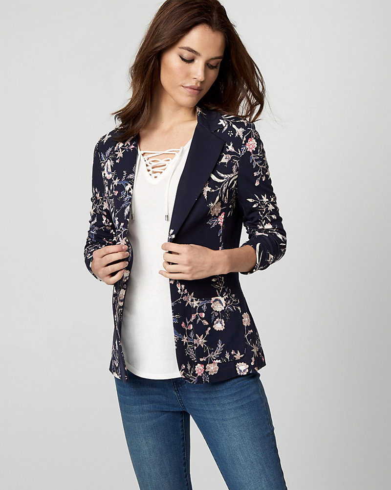 c2b08f0b3ef Floral Print Ponte Knit Notch Collar Blazer