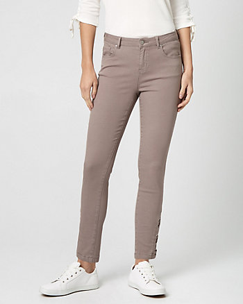 Stretch Denim Lace-Up Side Skinny Pant