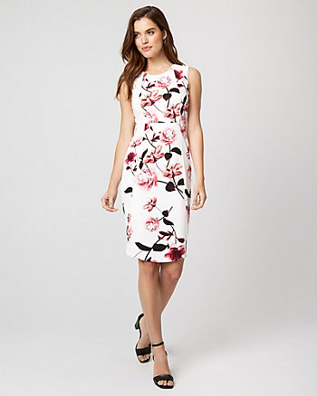 Floral Print Knit Crêpe Sheath Dress