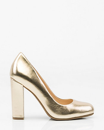 Metallic Almond Toe Pump