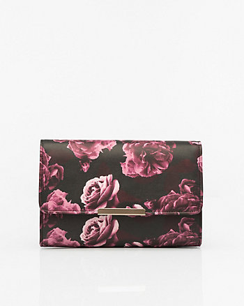 Floral Print Leather-Like Flapover Clutch
