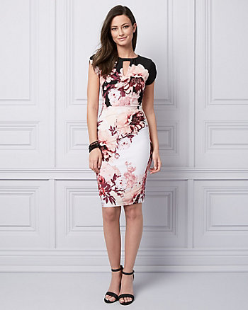 Floral Print Knit Cutout Cocktail Dress