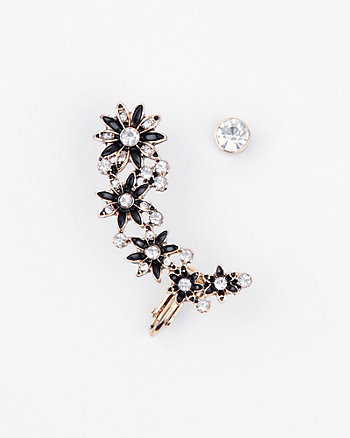 Floral Gem Stud & Cuff Earrings