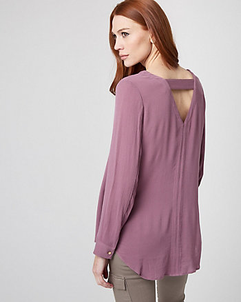 Cutout Back High-Low Blouse