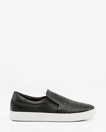 Laser Cut Leather Slip-On Sneaker