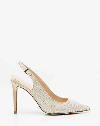Jewel Embellished Satin Slingback