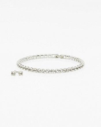 Gem Stud Earrings & Bracelet Set