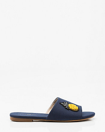 Patch Open Toe Slide Sandal