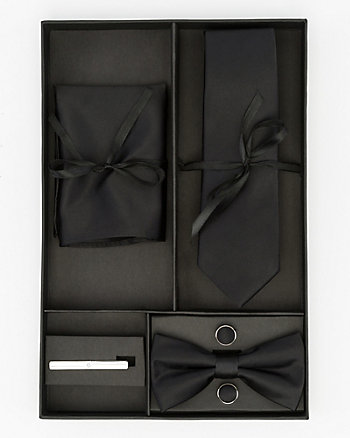 Tie, Bow Tie, Pocket Square, Cufflinks & Tie Clip Set
