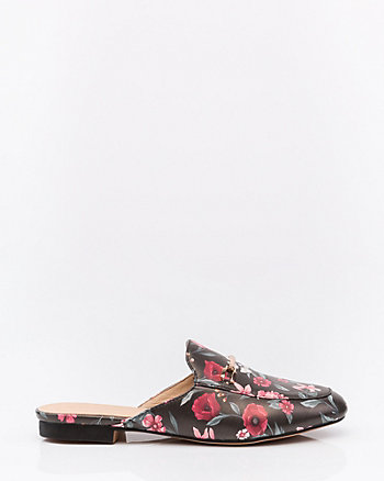 Floral Print Almond Toe Loafer Mule
