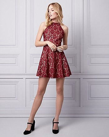 Lace Halter Cocktail Dress
