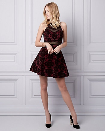 Flocked Burnout Velvet Illusion Dress