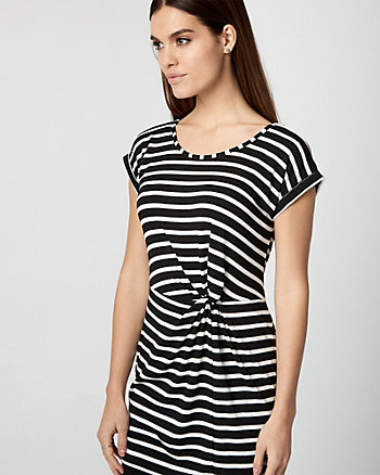 Stripe Knotted Knit Tunic Top