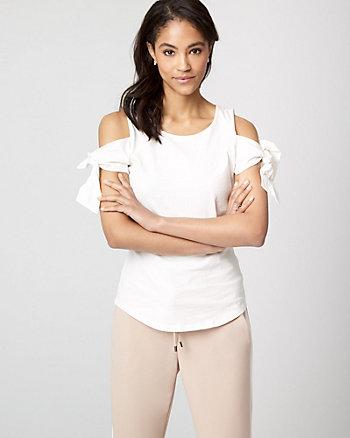 Cotton Jersey Cold Shoulder Top