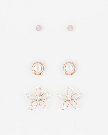 Set of Three Stud Earrings