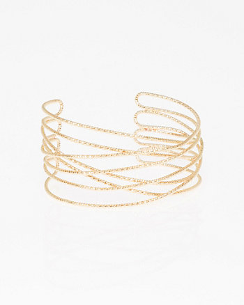 Etched Open Cuff Bracelet