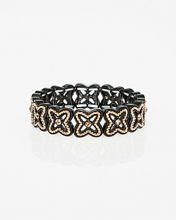 Criss-Cross Gem & Metal Stretch Bracelet