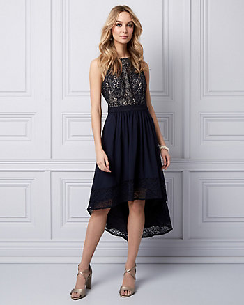 Lace & Chiffon High-Low Dress