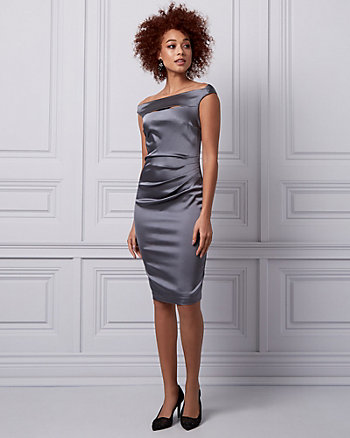 Satin Boat Neck Cocktail Dress