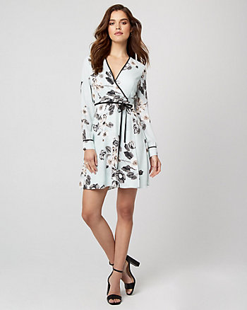 Floral Print Crêpe de Chine Wrap-Like Dress