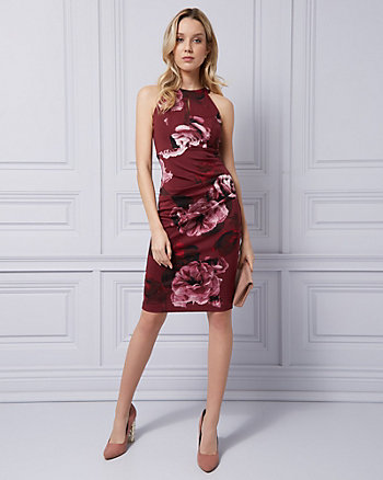 Floral Print Knit Crêpe Halter Dress