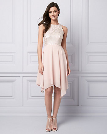 Foil Knit & Chiffon Halter Cocktail Dress