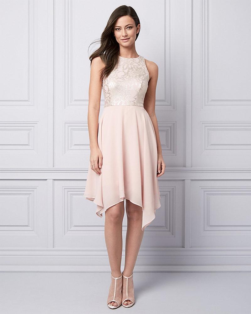 bf2bbe749f Foil Knit   Chiffon Halter Cocktail Dress