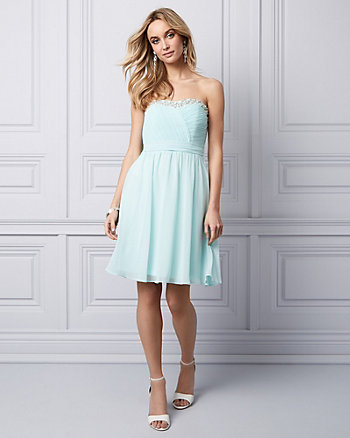 Beaded Chiffon Strapless Party Dress