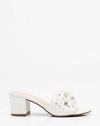 Pearl Embellished Block Heel Slide