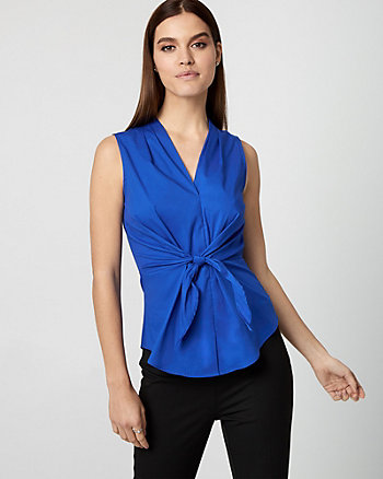 Knotted Stretch Poplin V-Neck Blouse