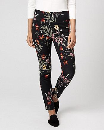 Floral Print Ponte Knit Skinny Leg Pant