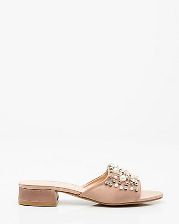 Pearl Embellished Satin Slide