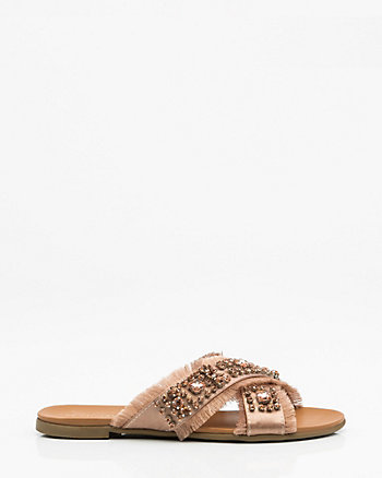 Jewel Embellished Frayed Satin Slide