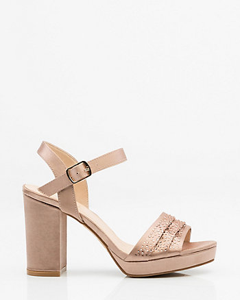 Jewel Embellished Satin Ankle Strap Sandal