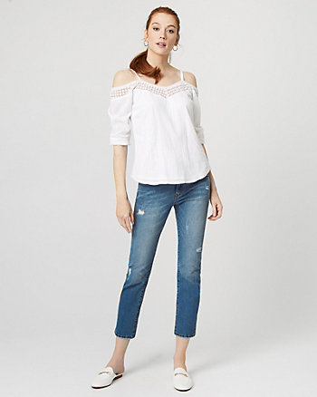 Cotton & Lace Cold Shoulder Blouse