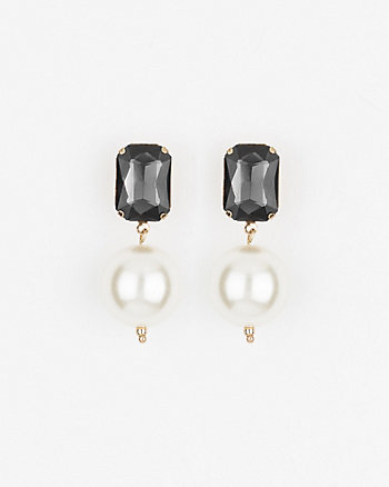 Gem & Pearl-Like Drop Earrings