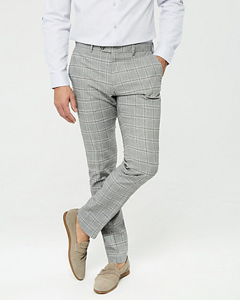 Grid Check Cotton Blend Slim Leg Pant