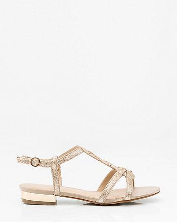 Glitter T-Strap Flat Sandal