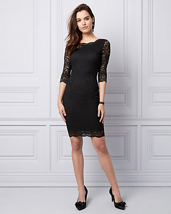 Scalloped Lace V-Back Cocktail Dress