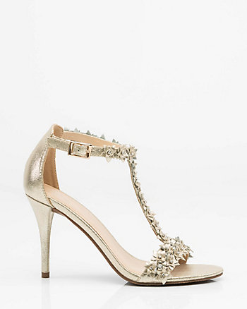 Jewel Embellished Floral T-Strap Sandal
