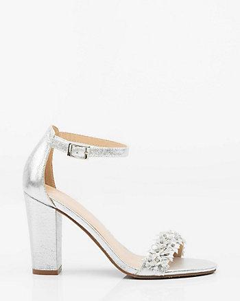 Jewel Embellished Floral Ankle Strap Sandal