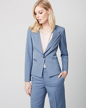 Wool Blend Button-Front Blazer