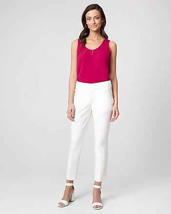 Bi-Stretch Cotton Blend Slim Leg Crop Pant